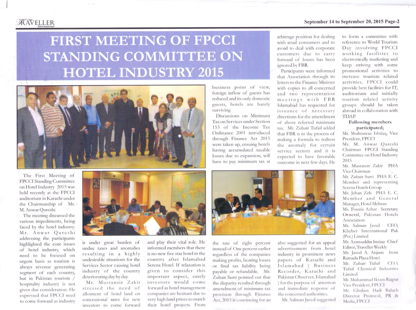 PHA held FPCCI Standing Committee on Hotel Industry Meeting on 3rd September, 2015 at FPCCI, Karachi