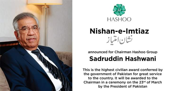Chairman, Hashoo Group nominated for Nishan-e-Imtiaz