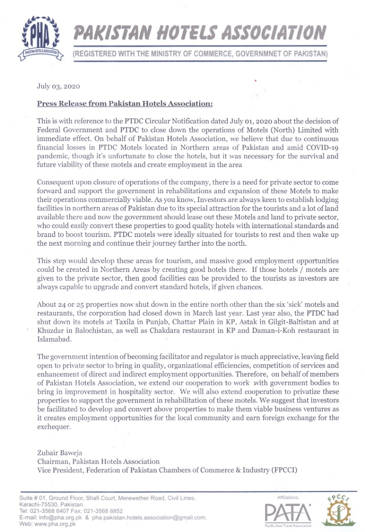 PHA Press Release on Governemnt/PTDC close down operations of Motels in North area of Pakistan