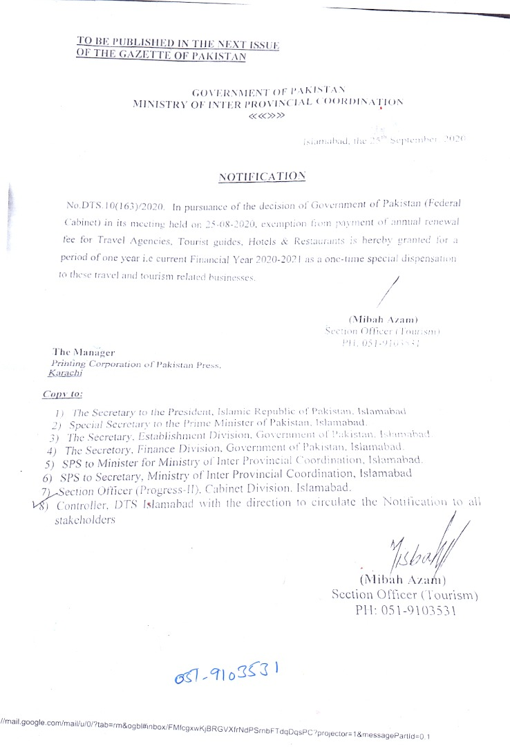 Waiver granted to Hotels for Registration & License Renewal Fee