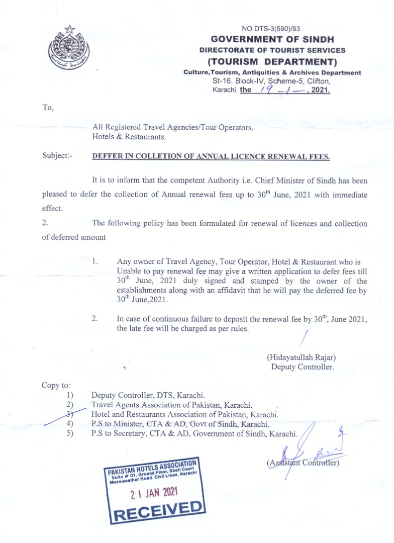 Defer in Payment of Annual License Renewal Fee for Hotels in Sindh Province